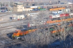 The BNSF Columbia Heights yard/tower with BNSF 6620/6619 in the foreground trees.